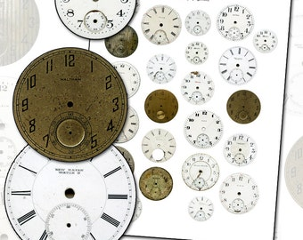 Antique Watch Dials digital collage sheet full size