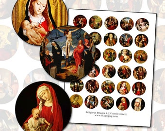 "Religious Paintings 1.33"" inch circle 34mm round digital collage sheet holy family nativity Jesus Christ medieval church art"