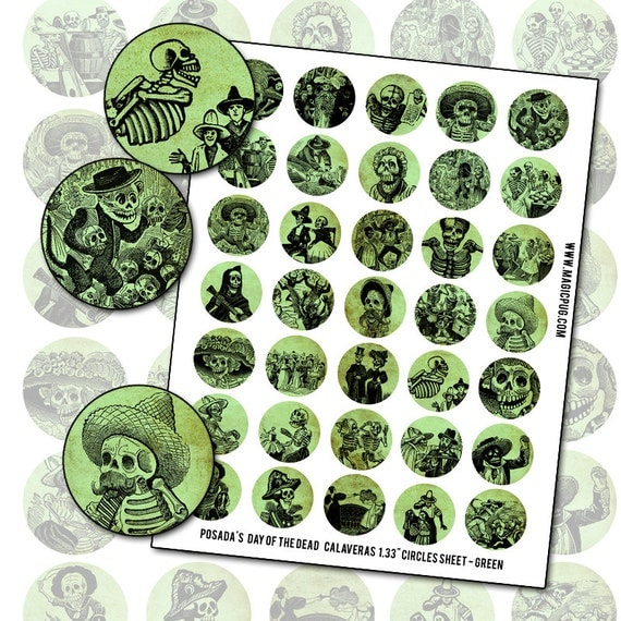 Day of the Dead Posada Calavera Green 1.33 inch 34 mm circle digital collage sheet  for bottlecap pinback badge