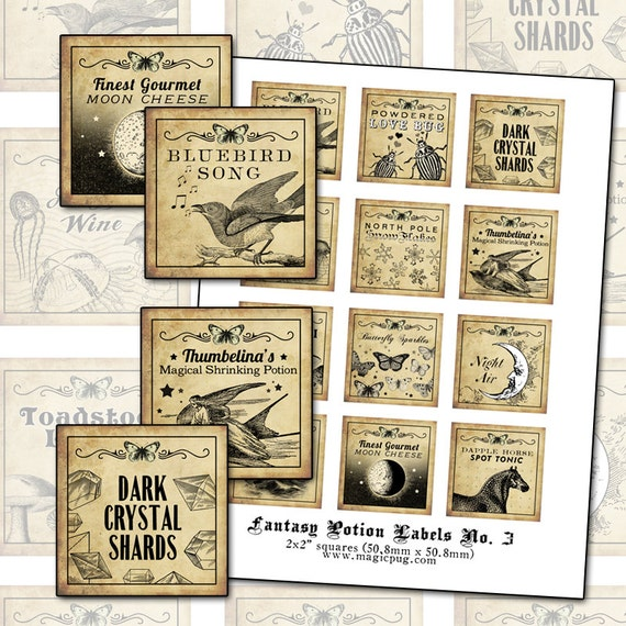 Antique Fantasy Potion Labels III 2x2 inch digital collage sheet inchies 50mm square moon bluebird toadstool dapple horse snowflakes