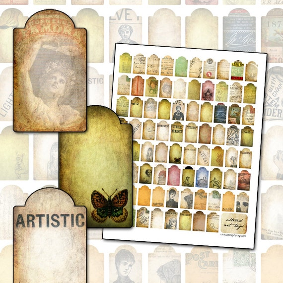 78 Altered Art Tags Digital Collage Sheet  for Gifts Presents Mail Art 1x2 .7 x .9
