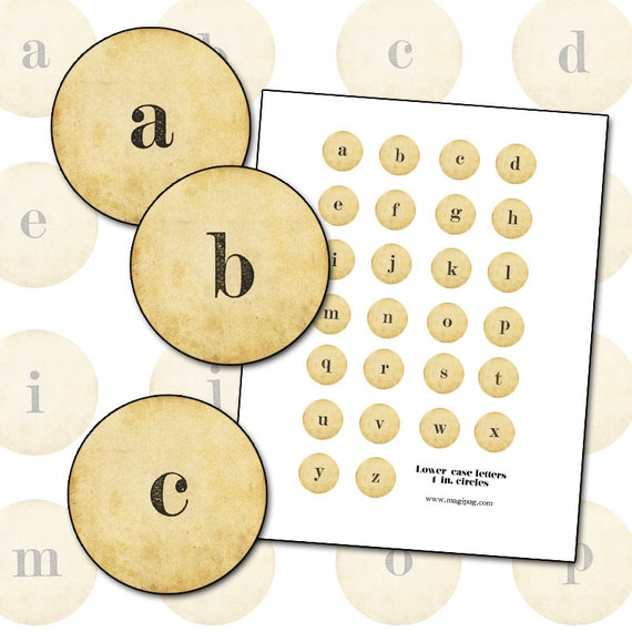 "Antique Alphabet Lower Case Serif Letters 25mm 1"" circle 25.4mm digital collage sheet round initials"