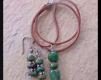 Chinese Turquoise, Bali and Sterling Silver Earrings and Necklace Set