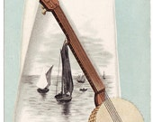 Antique Trade Card Ad for Sewing Machines with Banjo on Cover - for Expos 1888 and 1889