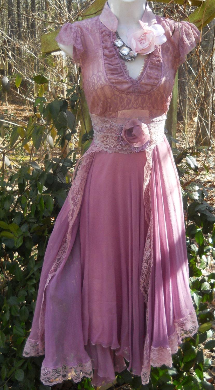 Reserve For Kara Purple Silk Dress Chiffon Lace Romantic