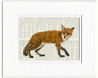 foxy red fox dictionary print