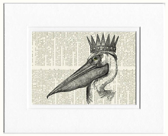 Queen and King pelican print
