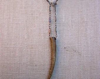 Horn necklace,Good Luck Horn, Raw Diamond Horn Necklace, Italian Horn