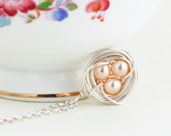 Silver Bird Nest Necklace With Peach Pearl Eggs, Lovely Gift For Your Mom or Grandmother, Nature Necklace, Woodland, Gift For Woman