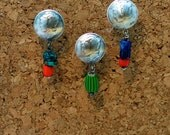 Mercury or not dime earrings sterling silver, lapis, turquoise, trade bead