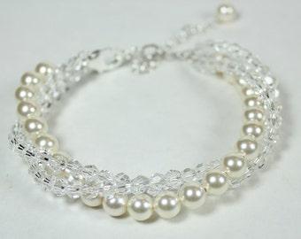 Cream & Crystal Bridal Bracelet, Wedding Jewelry Bracelet, three strand twisted bracelet, ivory, off white, soft ivory, diamond white