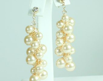 Champagne Wedding Earrings, Gold Bridal Earrings, Light Gold Weddings, Golden Bridesmaids Pearl Chandelier Full Earrings, Champagne Weddings
