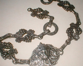 Fratelli Coppini Antique Gothic Silver Necklace Italian Bacchanal Grapes and Gods Drunken Revellers Talisman Vintage 1870s