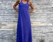 Organic Built in Bra Tank Simplicity Long Dress - ( light hemp and organic cotton knit ) - organic HEMP dress