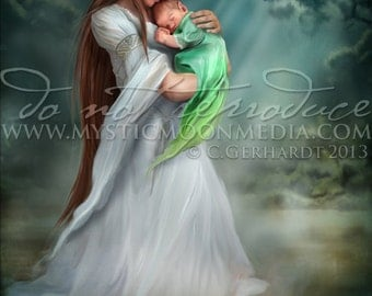 Yearling ... Print... Elven Mother and Child... pond... water... beautiful