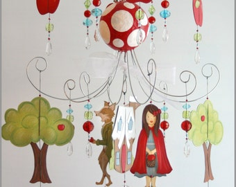 Little Red Ridding Hood Chandelier Mobile- Baby Mobile- Nursery Mobile- Nursery Art