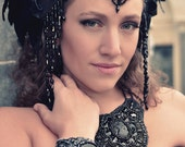 Contemporary Mourning Collar - French Jet Bead Embroidered Statement Necklace With Antique And Vintage Components