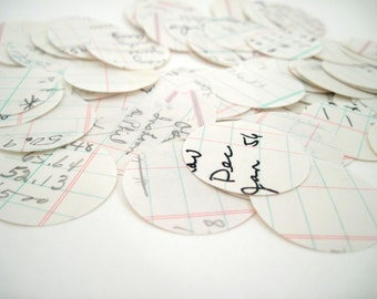 Paper Circles - Ledger Paper - Circle Punches - Handwritten - journaling - paper crafts - Vintage Business