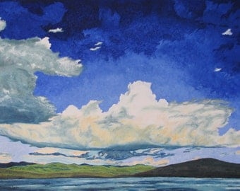 """Art Large Impressionist Landscape Oil Painting Appalachian Cloud Sky Frontenac National Park Quebec Canada """"Gliding Over Spider Lake 36 x 48"""