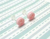 Light Pink Stud Earrings Pastel Pink Color Mini Buttons Metal Free Acrylic Hypoallergenic Posts Sensitive Ears Kawaii Earrings Zero Metal