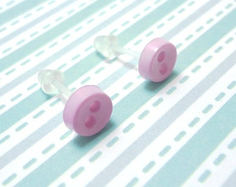 Light Lavender Stud Earrings Pale Purple Color Mini Buttons Metal Free Acrylic Hypoallergenic Posts Sensitive Ears Kawaii Earrings No Metal