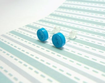 Caribbean Blue Stud Earrings Tropical Color Mini Buttons Metal Free Acrylic Hypoallergenic Posts Sensitive Ears Kawaii Earrings Zero Metal
