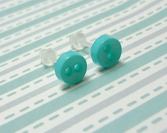 Aquamarine Green Stud Earrings Light Aqua Color Mini Buttons Metal Free Acrylic Hypoallergenic Posts Sensitive Ears Kawaii Earrings No Metal