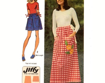 70s Simple jiffy drawstring skirt sewing pattern Simplicity 5123 One Size Uncut