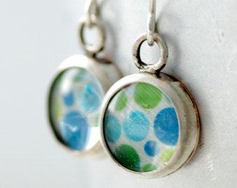 Mod Earrings, Retro Earrings, Polka Dot Earrings, Silver Earrings, Bezel Earrings, Blue and Green Earrings, 1970's, Wild Woman Jewelry
