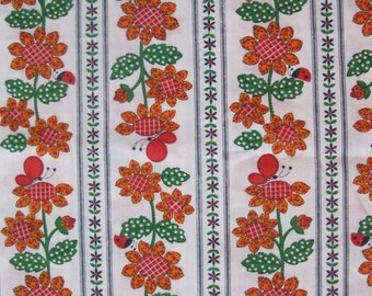 1960's / 1970's lady bug, butterfly, and flower print fabric, in orange, green, red, and navy blue, striped rows, 2 yds available