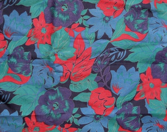 Floral Thai silk fabric, a rich floral print in jewel tones of purple, midnight and azure blue, green, and red, 1 2/3 yards