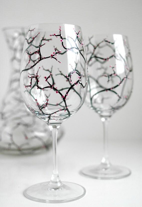 Spring Cherry Blossom Wine Glasses - Set of 4 Hand-Painted Glasses