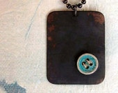 Button on Copper Necklace - Teal - Patina - Button - Stitched - Black - Rustic - Sewing Inspired - Cottage Chic - Square - Copper Necklace
