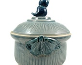 Porcelain Lidded Box with Bird and Butterflies - Pale Blue - Ready to Ship Today - Handmade Art -  Clay Pottery