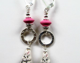 Bunny Rabbit Earrings - Hot Pink Bead and Hoops - Sterling Silver Leverback Earrings - Bunny Rabbit Lover Gift - Bunny Figurine - BeadedTail
