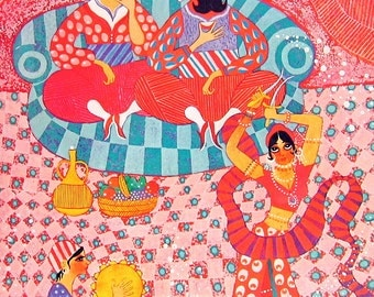 Ali Baba and the Forty Thieves Morgiana Dancing - Colorful Children's Book Page Vintage 1976