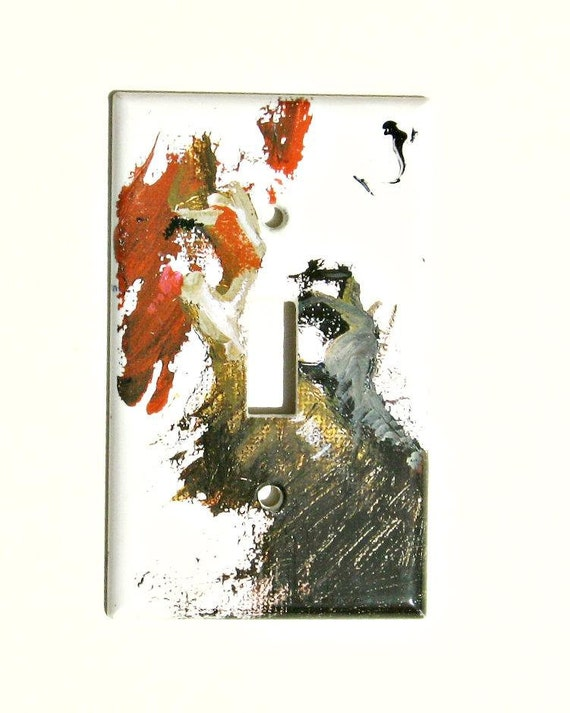 Light Switch Plate Cover Black Brown Gray Red Abstrast Painting Image  Red and Brown Room Decor