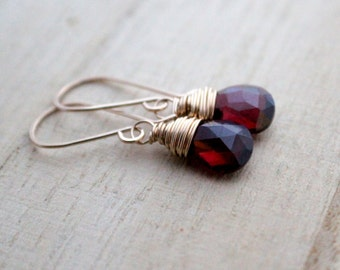 Garnet Dangle Earrings , Gold Genuine Gemstone January Birthstone Drop Earrings ,  Wrapped Garnet