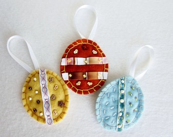 Felt Egg Ornaments, Beaded Felt Egg Ornaments, Egg Tree Ornaments, Easter Decorations