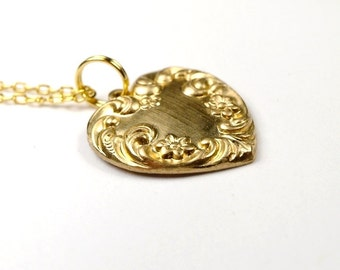 Small Heart Charm Necklace Golden Brass on a delicate gold plated chain