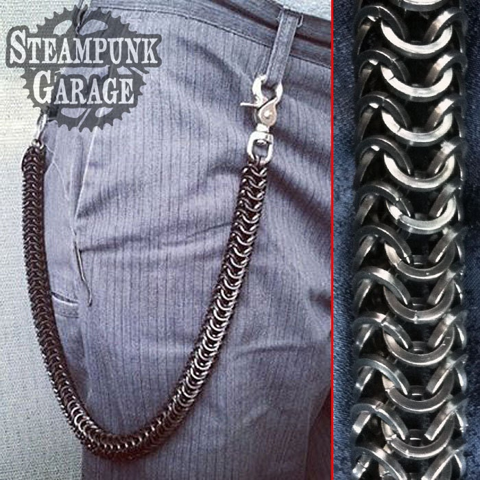 Thick Wallet Chain Black Square Wire Roundmail Weave