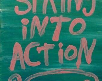 Pink Spring into Action Folk Art Typography Word Art Original Canvas Painting - Nayarts