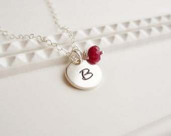 July birthstone, custom initial necklace, sterling silver initial, custom monogram, ruby birthstone, sterling silver necklace