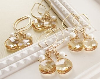 Bridesmaids earrings, Set of FOUR 4, bridesmaids jewelry, champagne earrings, bridesmaids gift set, crystal earrings, gold earrings