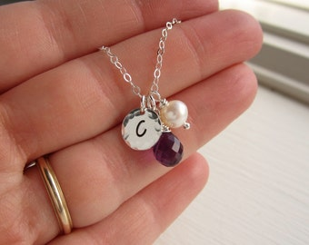 Custom bridesmaids gifts, personalized birthstone necklace, silver initial necklace, custom birthstone, purple amethyst bridesmaids necklace