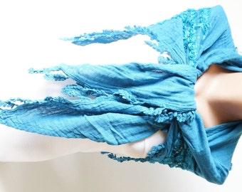 Flower Scarf - Cotton Scarf - Blue Scarf - Cowl Shawl
