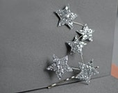 You are My Constellation Star Bridal Headpiece Glitter Fabric Silver Bobby Pin Bridesmaids Handmade Soft Fabric Wedding Free Shipping - EllaGajewskaBRIDAL