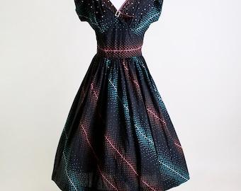 Vintage 1950s Dress - Rhinestone and Pearl Black Swirl Cotton Day Dress - Medium