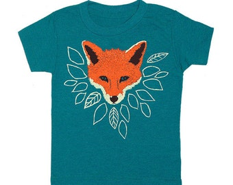 KIDS Fox - T-shirt Tee Shirt Children Toddler Youth Boy Girl Nature Woodland Animal Fantastic Mr Fox Green Wolf Forest Tri Evergreen Tshirt