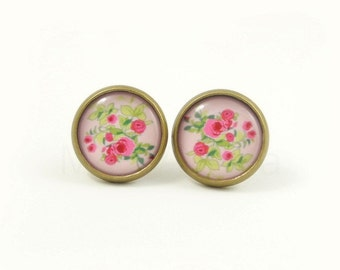 Pink Rose Stud Earrings,Rose Jewelry,Floral Jewelry,Flower Stud Earrings,Pink Green Rose Flower Earrings (E146)